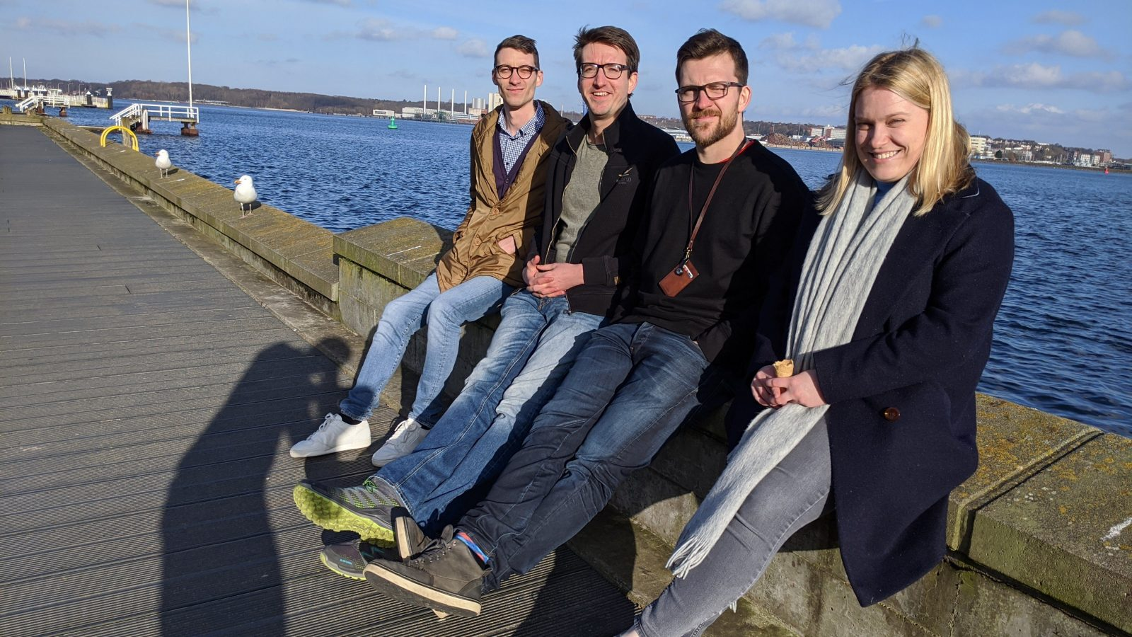 February 2020, pre-social distancing Kiel. One day we will meet again! From left to right: Stefano Bertuletti, Robbin Romijnders, Clint Hansen, and Kirsty Scott.